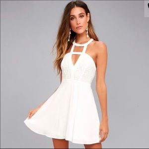 Lulu's All My Day Dream White Lace Skater Dress
